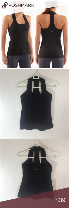 Lululemon Scoop Neck Tank Top Black Excellent condition ! Size 4 lululemon athletica Tops Tank Tops