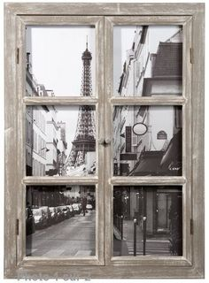 Wall decoration - Wooden window frame 57 x 79 cm PARIS - Wooden Windows, Old Windows, Old Window Projects, Window Frames, Easy Home Decor, Tour Eiffel, Wall Decor, Wall Art, House Design