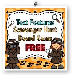 Text Features FREE: This text features game contains 27 game cards and a game board to help students practice finding various text features in nonfiction text. To play this game, a player will select a time card and a text feature scavenger hunt card. In order to move his/her piece forward on the game board, the player must find an example of that text feature within the amount of time shown.