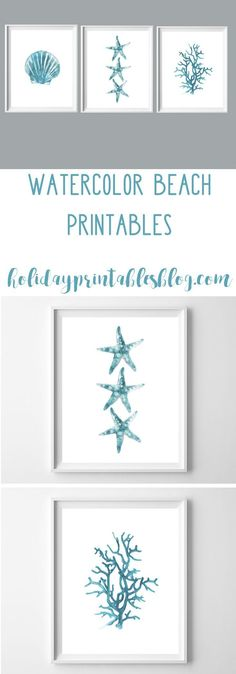 Watercolor Beach Printables | Free Printable Art | Beach House | Coastal Decor | Teal Art | Turquoise Blue Printable Art | Wall Decor Ideas