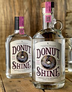 750 ml bottle of Donut Shine-Kentucky style moonshine made from day old donuts PD