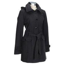 Wool Blend Coat with Waist Belt and Hood