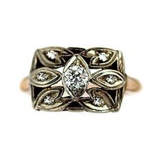 Yellow Gold Old European Cut Diamond Ring