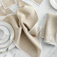 typogrpaher's linen napkins, Mark and Graham Cotton Napkins, Linen Napkins, Mark And Graham, Linens And Lace, Green Ribbon, Satin Stitch, Natural Linen, Grosgrain Ribbon, Linen Fabric
