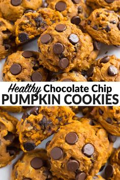 Soft and chewy healthy pumpkin cookies made with oatmeal, dark chocolate chips, and warm fall spices. Easy cookie recipe with no chilling! These healthy cookies are one of our absolute favorite fall desserts and pumpkin recipes! #pumpkin #wellplated via @wellplated Pumpkin Chocolate Recipe, Pumpkin Blondies Recipe, Healthy Chocolate Chip Cookies, Desserts With Chocolate Chips, Pumpkin Chocolate Chip Cookies, Dark Chocolate Chips, Healthy Cookies, Easy Cookie Recipes, Pumpkin Recipes