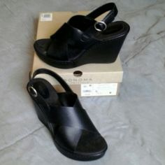 Black wedge sandal Black sandal with crisscross front and buckle.  Size 9M  worn one night.  Have box.  Sonoma Life & Style Sonoma Shoes Wedges