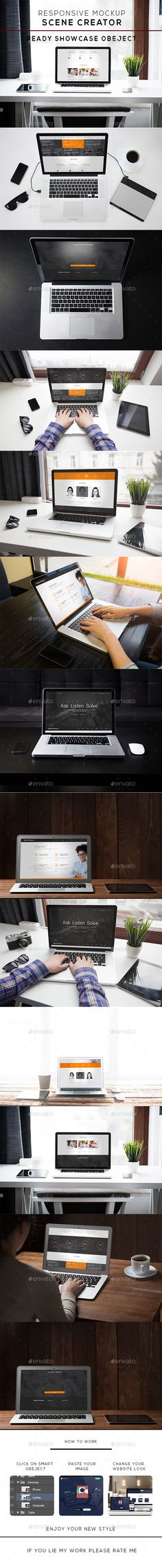 Realistic Laptop Mockup - Displays #Product #Mock-Ups Download here: https://graphicriver.net/item/realistic-laptop-mockup/19543497?ref=alena994