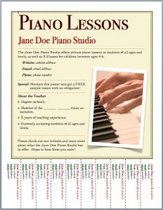 """I've created a new flyer template for advertising piano lessons, and have just added it to the Printables > Studio Business page! (Scroll down to the P's for """"Piano Lessons Flyer Template #2.) ..."""
