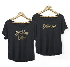 Birthday Entourage Shirts are perfect for going out with you girls on your birthday! Get a special one for the birthday diva and entourage for the rest - or choose to have them printed with your own custom text - up to 3 lines! A great birthday gift for her. Flowy tops are dolman style with gold foil printing in your custom wording. If you want them to be off the shoulder order a size up.  Perfect for birthday celebrations, bachelorette parties and or bridesmaids! Just choose your custom…