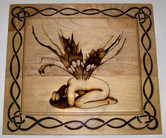 """Collapsed Fairy Faery with Tattered Wings"" pyrography"