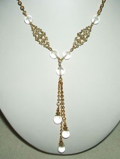 POOLS OF LIGHT Sautoir Necklace ROCK CRYSTAL QUARTZ ORBS Art Deco GOLD Plated #ARTJEWELRYFORYOU