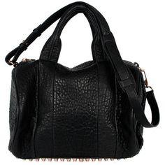 A.Wang Rocco Rose Gold (€715) ❤ liked on Polyvore featuring bags, handbags, purses, сумки, bolsas, black, man duffle bag, rose gold purse, flat bags and duffle bag