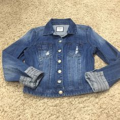 """Denim jacket, faded/distressed, silver buttons Denim jean jacket from Buckle, size M, worn once, faded and distressed, super cute cuffs that look cute rolled up or down. 18.5"""" inseam from armpit to end of sleeve (this is w sleeve fully extended and not rolled up), 20"""" from shoulder to bottom hem, 15"""" from shoulder to shoulder. Jacket is marked as medium, but it runs small in my opinion.  I have a cat in my home. Buckle Jackets & Coats Jean Jackets"""