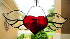 Red Winged Heart Stained Glass Sun Catcher ~ Heart Stained Glass ~ Sweetheart Gift ~ Gifts less than 25 by PinwheelStainedGlass on Etsy