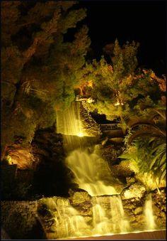waterfall Loutraki by night