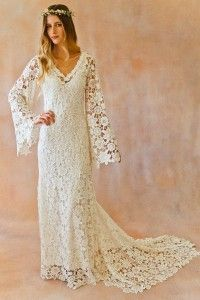 Sexy A-line V-neck Sweep/Brush Train Lace Fabric Boho Wedding Dress with Lace Style WD610109001ZY