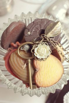 """Necklace with Bronze Charms and Ivory White Rose """"Collecteur"""", original vintage ribbon, customizable - FALL / WINTER 2011/12  $75"""