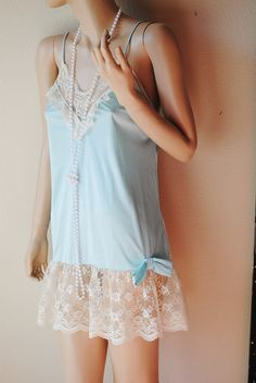 Vintage Aqua Blue Nighty With Ivory Lace  by by LingerieAddicts, $15.50