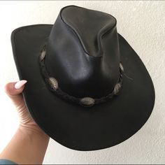 REAL LEATHER WESTERN CONCHO HAT FIRM BRING As seen Accessories Hats 392e585c2523