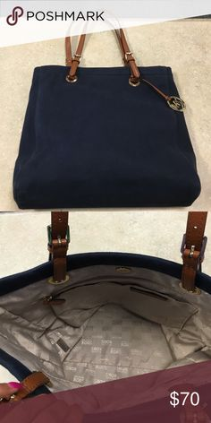 "Michael Kors canvas bag Cute Michael Kors navy canvas bag in excellent condition.15"" width and 13.5"" height MICHAEL Michael Kors Bags Totes"