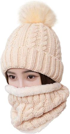 LCZTN Womens Pom Beanie Hat Scarf Set Girls Cute Winter Ski Hat Slouchy  Knit Skull Cap with Fleece Lined at Amazon Women s Clothing store  7d9c81dcfa8