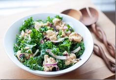 Vegetarian kale & roasted cauliflower salad. Perfect side for the cold months!