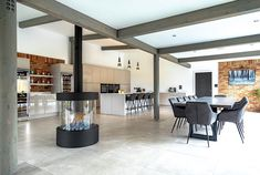 """Robeys on Instagram: """"If we are all subject to some isolation at the moment then this looks like a pretty good place to do it! The open plan living space with…"""" Modern Fireplaces, Gas Fires, Open Plan Living, Pretty Good, Living Spaces, In This Moment, Kitchen, Furniture, Beautiful"""