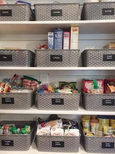 Large shallow baskets with labels are the perfect way to categorize and organise your pantry supplies