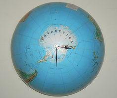 repurposed globe becomes a clock...