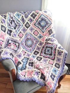 Beginner Crochet Blanket Ravelry: Spring Lane Mystery Blanket CAL pattern by DROPS design - Crochet Square Blanket, Crochet Blocks, Granny Square Crochet Pattern, Afghan Crochet Patterns, Crochet Squares, Crochet Blankets, Granny Squares, Crochet Granny, Crochet Afgans