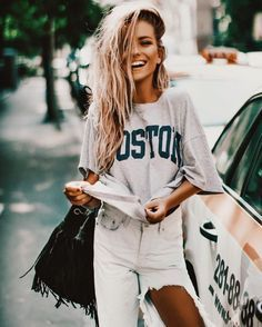 boston tee with ripped denim - outfit ideas - style inspiration - ootd - fashion blogger - candid photography