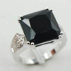 Brylana Sterling Silver Plated Rings Onyx
