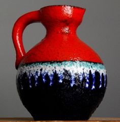 Vintage 60-70s MAREI Keramik 4301 Red Blue Icicle Vase German Pottery Fat Lava E