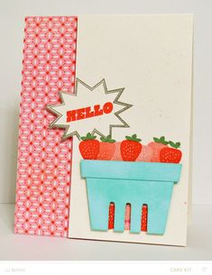 JJ Bolton {Handmade Cards}: Hello Strawberry card - a Silhouette project