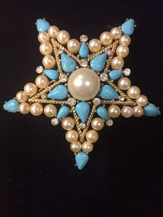 CROWN TRIFARI VINTAGE TURQUOISE AND PEARLS STAR BROOCH PIN | Jewelry & Watches, Vintage & Antique Jewelry, Costume | eBay!