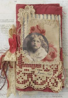 Mixed Media Fabric Collage of Little Angels at Christmas   eBay