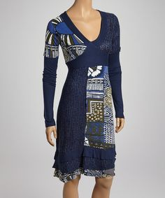 Take a look at this Fashion Fuse Blue & Black V-Neck Dress on zulily today!