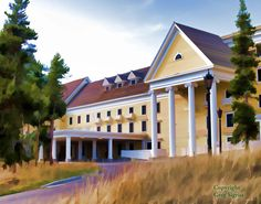 Yellowstone Park Lake Hotel Available in 5x7 by RainWaterGallery