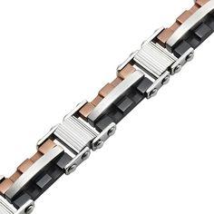 Mechanic Style Mens Stainless Steel Link Bracelet Silver Bronze Black | RnBJewellery