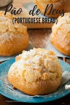 This Pão de Deus (Portuguese bread) which means bread of God, will not disappoint you. So fluffy and soft in the inside and with a crunchy coconut crust. Each bite is one more step towards heaven. Portuguese Sweet Bread, Portuguese Desserts, Portuguese Recipes, Portuguese Food, Breakfast Recipes, Dessert Recipes, Gourmet Desserts, Plated Desserts, Bread Recipes