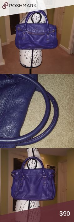 "EUC purple kate spade medium cobble hill leslie EUC Kate Spade purple leather fold-over top satchel. Bag comes with matching 42"" crossbody strap, can also be carried by handles. This bag features gold hardware and a black & white striped cloth interior. Zipper is functional and in great condition. The whole bag, really, is in great condition. No flaws to note. See photos. Please feel free to ask any questions/make offers! 13"" tall from base of bag to top of zippered portion while top of bag…"