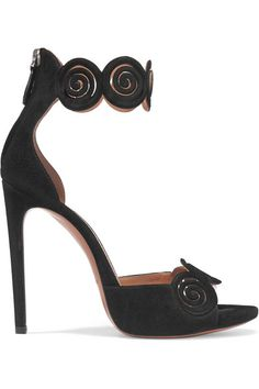 Heel measures approximately 115mm/ 4.5 inches  Black suede Concealed zip fastening along back Made in Italy
