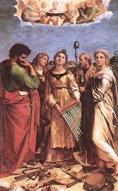 St Cecilia, 1514, by Raphael (Raffaello Sanzio da Urbino) (Italian, 1483-1520)