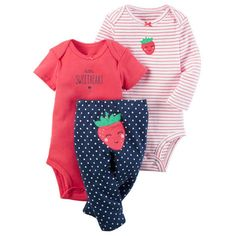 835a549c1 baby boy girl clothes set strawberry (long sleeve romper +short sleeve  jumpsuit + pants