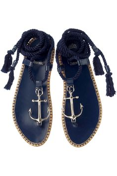 Navy Anchor Sandals