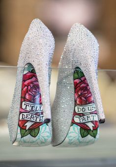 the perfect sparkly silver wedding shoes - till death do us part I LOVE THERE different color though