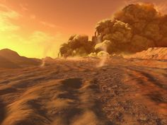 Concept art of dust storms & dust devils on Mars