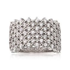 Ross-Simons - 1.80 ct. t.w. CZ Wide-Style Ring in Sterling Silver - #828950