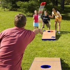 Playing Bean Bag toss