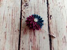 Teal Purple Chrysanthemum Flower Pin Scarf Pin Hat by HandcraftKu